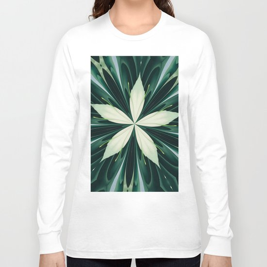 White Leaves In A Green Forest Kaleidoscope Long Sleeve T-shirt