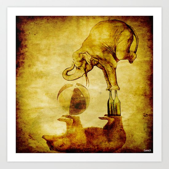 The elephant and the bear have fun Art Print