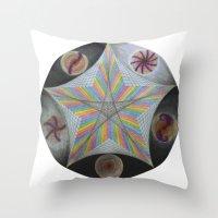 pentagram Throw Pillows featuring Galactic Pentagram (ANALOG zine) by johngerGEOs