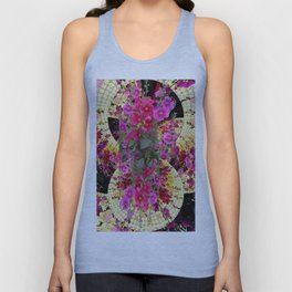 CORAL PINK & HOLLYHOCKS ABSTRACT GARDEN Unisex Tank Top