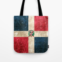 Vintage Aged and Scratched Dominican Flag Tote Bag
