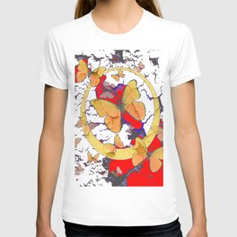 YELLOW  BUTTERFLIES IN WHITE & RED ABSTRACT T-shirt