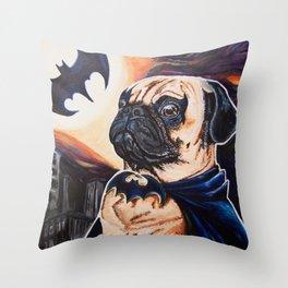 Bat-man the Pug Throw Pillow