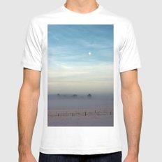 Snow, mist and moon White SMALL Mens Fitted Tee