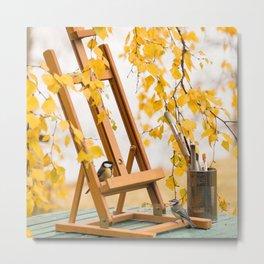 Birds and Artist Painting Tools Autumn Scene #decor #society6 #buyart Metal Print