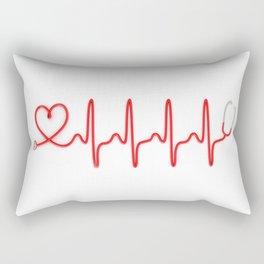 Ekg Heart Stethoscope Rectangular Pillow