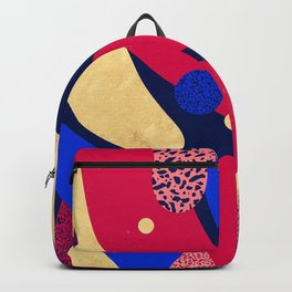 Psychedelic terrazzo galaxy blue night gold red Backpack