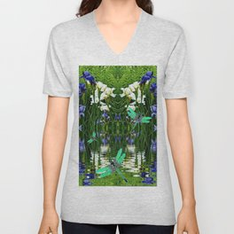 TURQUOISE DRAGONFLIES IRIS WATER REFLECTIONS Unisex V-Neck