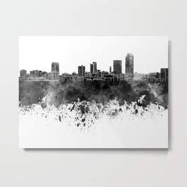 Little Rock skyline in black watercolor on white background Metal Print