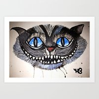 cheshire cat Art Prints featuring Cheshire by haley baird