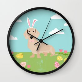 Dachshund dog breed easter pet portrait dog breed gifts pure breed dachsie doxie cream Wall Clock