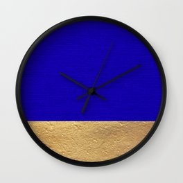 Color Blocked Gold & Cerulean Wall Clock