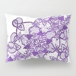 Modern lavender purple watercolor floral lace illustration Pillow Sham