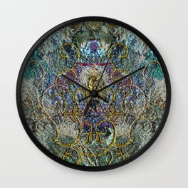 Fantasy in blue and gold Wall Clock