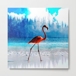 Walking flamingo #society6 Metal Print