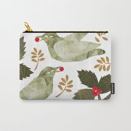 Birds and Holly in Greens, Golds and Red Carry-All Pouch