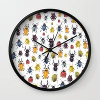 bugs Wall Clocks featuring Bugs by Marina Eiro