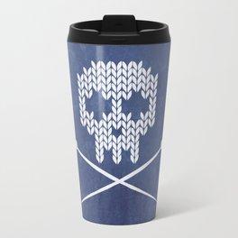 Knitted Skull - White on Navy Blue Travel Mug