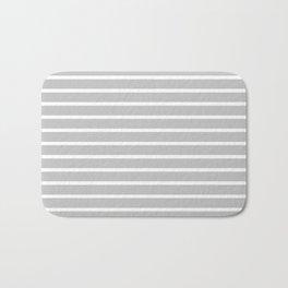Light Grey and White Horizontal Stripes Pattern Bath Mat