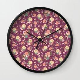 Vintage Florals: Burgundy Wall Clock