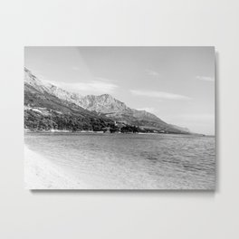 Black and White Beach |  Clear Ocean Water Waves in European Mountain Landscape Beautiful Sky Metal Print