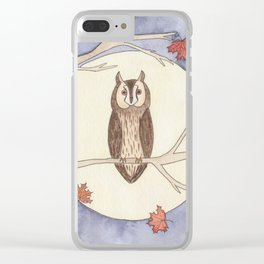 Long-Eared Owl Watercolor Clear iPhone Case