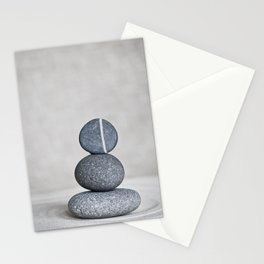 Zen cairn pebble stone balance grey Stationery Cards