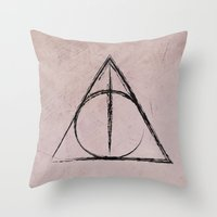 deathly hallows Throw Pillows featuring Deathly Hallows (Harry Potter) by Daizy Jain