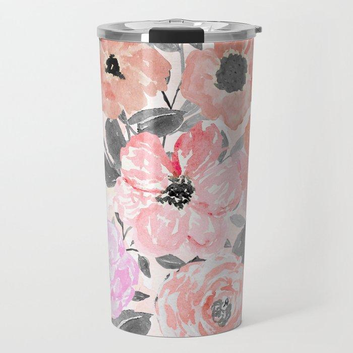 Elegant simple watercolor floral Travel Mug