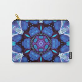 Digital Art Bue and Purple Kaleidoscope - Geometric Colorful Carry-All Pouch