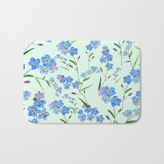 forget me not in green background Bath Mat