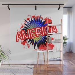 America Red White And Blue Cartoon Exclamation Wall Mural