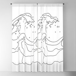 Minimal Line Art Ocean Waves Blackout Curtain