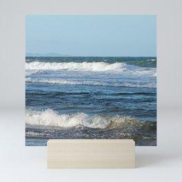 Waves and distant headlands in Queensland, Australia Mini Art Print