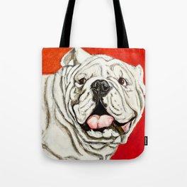 Uga the Bulldog Painting - Red Background Tote Bag