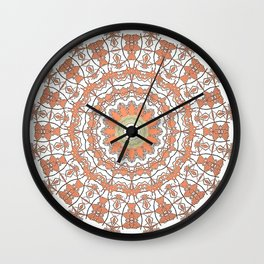Sun Kissed Apricot Mandala Design Wall Clock