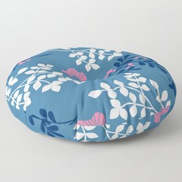 Classic Pink, Blue & White Floral & Leaf Pattern Floor Pillow