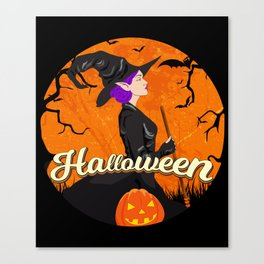 Beautiful Witch Halloween design Spooky Gift for Girls Canvas Print