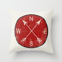 compass Throw Pillows featuring Compass by Duke Dastardly