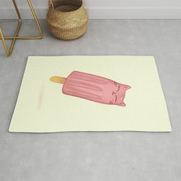 Catsicle - Strawbery Ice Lolly Cat - Cute Food Illustration Rug