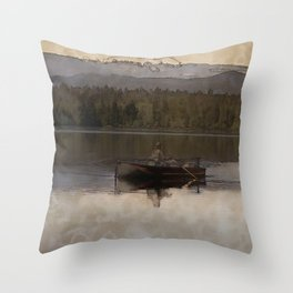 Fishing in Silence Throw Pillow