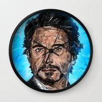 robert downey jr Wall Clocks featuring RD JR by Balazs Pakozdi
