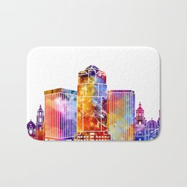 Tucson landmarks watercolor poster Bath Mat
