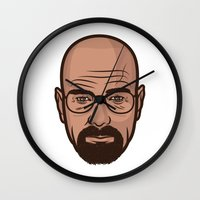walter white Wall Clocks featuring Walter White by Michael Walchalk