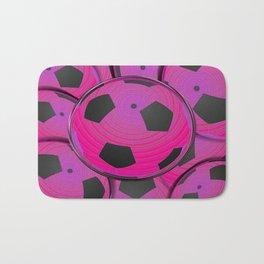 Pink Black Soccer Balls Bath Mat