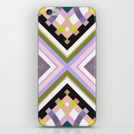 Retro Muted Moss & Lavender Bold Line Motif iPhone Skin