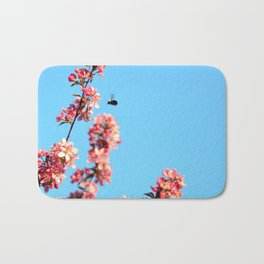 Pink flowers With Bee Bath Mat