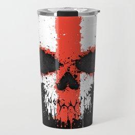 Flag of England on a Chaotic Splatter Skull Travel Mug