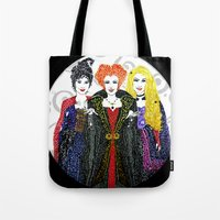 hocus pocus Tote Bags featuring Hocus Pocus by The Curly Whirl Girly.
