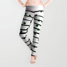 Modern black forest green polka dots stripes Leggings
